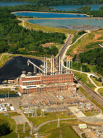 Aerial photography over Charlotte, NC, and the surrounding areas from May 2009. Photos by Charlotte photographer Patrick Schneider Photography. Photo of Duke Energy's Riverbend Steam Station, a 454-megawatts coal-fired generating facility located in Gaston County, North Carolina. The four-unit station is named for a bend in the Catawba River on which it's located.
