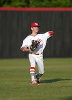 Lake Mary Rams outfielder Bryce Vorhees (18) during practice before a game against the Lake Brantley Patriots on April 2, 2015 at Allen Tuttle Field in Lake Mary, Florida.  Lake Brantley defeated Lake Mary 10-5.  (Mike Janes/Four Seam Images)