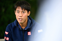 WASHINGTON, DC - AUGUST 1: Kei Nishikori (JPN) speaks with press on Media Day ahead of the 2021 Citi Open at Rock Creek Park Tennis Center on August 1, 2021 in Washington, DC.
