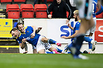 St Johnstone v Dundee…02.10.21  McDiarmid Park.    SPFL<br />Stevie May celebrates his goal with Liam Craig<br />Picture by Graeme Hart.<br />Copyright Perthshire Picture Agency<br />Tel: 01738 623350  Mobile: 07990 594431