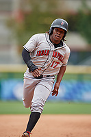 Indianapolis Indians shortstop Gift Ngoepe (17) running the bases during a game against the Buffalo Bisons on August 17, 2017 at Coca-Cola Field in Buffalo, New York.  Buffalo defeated Indianapolis 4-1.  (Mike Janes/Four Seam Images)