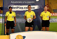 BOGOTA - COLOMBIA, 03-12-2020: Millonarios F.C. y America de Cali durante partido de Ida de las Semifinales por la Liga Femenina BetPlay DIMAYOR 2020 jugado en el estadio Nemesio Camacho El Campin en la ciudad de Bogota. / Millonarios F.C. and America de Cali during match First Leg of the Semifinals for the Women's League BetPlay DIMAYOR 2020 played at the Nemesio Camacho El Campin stadium in Bogota city. / Photo: VizzorImage / Luis Ramirez / Staff.