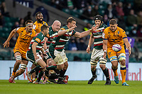 21st May 2021; Twickenham, London, England; European Rugby Challenge Cup Final, Leicester Tigers versus Montpellier; Paul Willemse of Montpellier Rugby under pressure from Jasper Wiese of Leicester Tigers