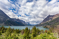 View of Glacier National Park from the Wild Goose island Viewpoint along Going to the Sun road
