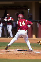 Brad Kaczka (14) of the Winthrop Eagles at bat against the Kennesaw State Owls at the Winthrop Ballpark on March 15, 2015 in Rock Hill, South Carolina.  The Eagles defeated the Owls 11-4.  (Brian Westerholt/Four Seam Images)