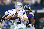 Dallas Cowboys quarterback Brandon Weeden (3) and Baltimore Ravens linebacker Pernell McPhee (90) in action during the pre-season game between the Baltimore Ravens and the Dallas Cowboys at the AT & T stadium in Arlington, Texas. The Ravens lead Dallas 24 to 10 at half time.