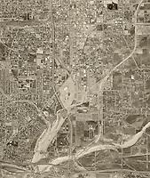 historical aerial photograph San Bernadino, California, 1966