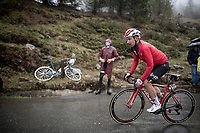 Victor Campenaerts (BEL/Lotto-Soudal) up the extremely wet, cold & misty Cole di Mortirolo <br /> <br /> Stage 16: Lovere to Ponte di Legno (194km)<br /> 102nd Giro d'Italia 2019<br /> <br /> ©kramon