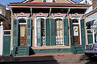 French Quarter, New Orleans, Louisiana.  Double Shotgun House, Duplex, Two Doors, Two Windows.