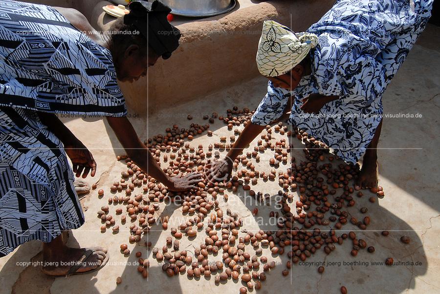 BURKINA FASO Dorf Sesuala bei Pó , Ethnie Kassena ,Frauen Kooperative verarbeiten Karite bzw Shea Nuesse zu Shea Butter - BURKINA FASO , village Sesuala near Pó , ethnic Kassena , women cooperative produce shea butter from shea nuts of Karite tree