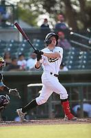 Spencer Brown (10) of the Cucuys de San Bernardino bats against the los Toros de Visalia at San Manuel Stadium on July 11, 2021 in San Bernardino, California. (Larry Goren/Four Seam Images)