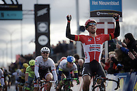 Jens Debusschere (BEL/Lotto-Soudal) crossing the finish line victoriously<br /> <br /> 71st Dwars door Vlaanderen (1.HC)