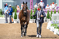 BEL-Alexa Fairchild presents Dabanos D'O4 during the 1st Horse Inspection for the Dressage at the Equestrian Park. Tokyo 2020 Olympic Games. Friday 23 July 2021. Copyright Photo: Libby Law Photography