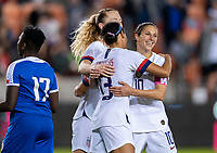 HOUSTON, TX - JANUARY 28: Lynn Williams #13 and Carli Lloyd #10 of the United States celebrate a goal during a game between Haiti and USWNT at BBVA Stadium on January 28, 2020 in Houston, Texas.