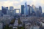 Downtown Paris from the top of the Arc de Triomphe, Paris, France