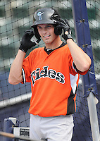 Infielder Nick Green (5) of the Norfolk Tides, International League affiliate of the Baltimore Orioles, prior to a game against the Scranton/Wilkes-Barre Yankees on June 20, 2011, at PNC Park in Moosic, Pennsylvania. (Tom Priddy/Four Seam Images)