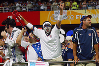 USA fans celebrate making it to the Round of 16. The USA lost 3-1 against Poland in the FIFA World Cup 2002 in Korea on June 14, 2002.