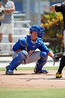Toronto Blue Jays catcher Hagen Danner (26) awaits a pitch during a Florida Instructional League game against the Pittsburgh Pirates on September 20, 2018 at the Englebert Complex in Dunedin, Florida.  (Mike Janes/Four Seam Images)