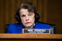 """United States Senator Dianne Feinstein (Democrat of California), Ranking Member, US Senate Judiciary Committee, makes an opening statement during the US Senate Judiciary Committee hearing titled """"Examining Best Practices for Incarceration and Detention During COVID-19,"""" in Dirksen Building in Washington, D.C. on Tuesday, June 2, 2020.<br /> Credit: Tom Williams / Pool via CNP/AdMedia"""
