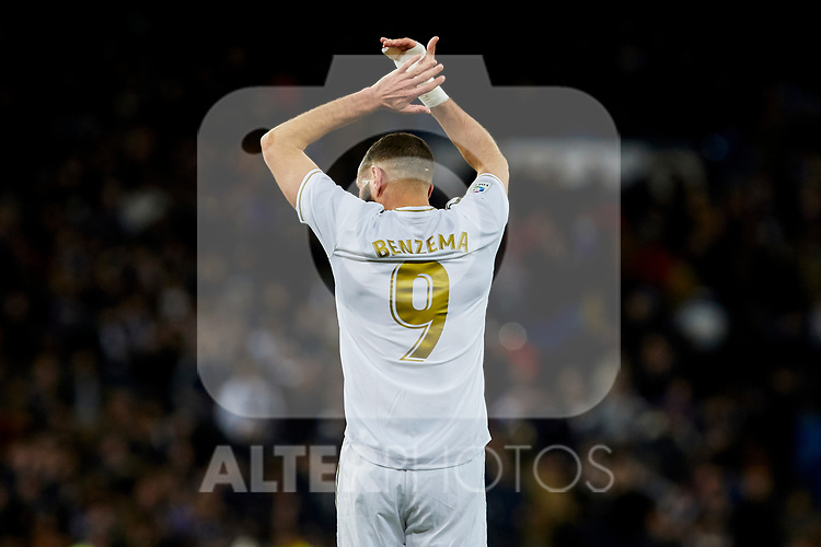Karim Benzema of Real Madrid celebrate the victory after La Liga match between Real Madrid and Real Sociedad at Santiago Bernabeu Stadium in Madrid, Spain. November 23, 2019. (ALTERPHOTOS/A. Perez Meca)