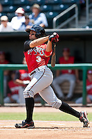 Jake Kahaulelio (3) of the  Carolina Mudcats during a game vs. the Jacksonville Suns May 31 2010 at Baseball Grounds of Jacksonville in Jacksonville, Florida. Jacksonville won the game against Carolina by the score of 3-2. Photo By Scott Jontes/Four Seam Images