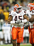 Illinois Fighting Illini linebacker Jonathan Brown (45) in between plays during the 2010 Texas  Bowl football game between the Illinois  Fighting Illini and the Baylor Bears at the Reliant Stadium in Houston, Tx. Illinois defeats Baylor 38 to 14....
