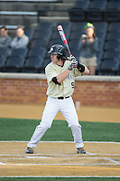 Ben Breazeale (9) of the Wake Forest Demon Deacons at bat against the UConn Huskies at Wake Forest Baseball Park on March 17, 2015 in Winston-Salem, North Carolina.  The Demon Deacons defeated the Huskies 6-2.  (Brian Westerholt/Four Seam Images)