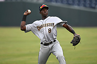 Center fielder Estevan Florial (8) of the Charleston RiverDogs warms up prior to a game against the Greenville Drive on Thursday, July 27, 2017, at Fluor Field at the West End in Greenville, South Carolina. Charleston won, 5-2. (Tom Priddy/Four Seam Images)