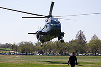 Marine One carries US President Joe Biden and First Lady Jill Biden as it arrives on the Ellipse near the White House, in Washington, DC, USA, 05 April 2021. Biden returns to the White House following a trip to Camp David.<br /> CAP/MPI/RS<br /> ©RS/MPI/Capital Pictures