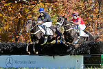05 November2011:  Dance Faster and Paddy Young (red) win the Madison Plate at Montpelier Hunt races in Orange, Va. Embarrassed and  Willie McCarthy finished third. Dance Faster is owned by Donna Kachel and trained by Ricky Hendriks.   Susan M. Carter/Eclipse Sportswire