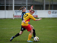 20140104 - AALTER , BELGIUM : Brugge's Heleen Jaques pictured in a duel with Massenhoven's Jolien Baeten (r) during the female soccer match between Club Brugge Vrouwen and Massenhoven VC , of the 1/8 final matchday in the Belgian Women Cup competition. Saturday 4 January 2014 . PHOTO DAVID CATRY
