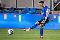SAN JOSE, CA - AUGUST 13: Luciano Abecasis #2 of the San Jose Earthquakes passes the ball during a game between San Jose Earthquakes and Vancouver Whitecaps at PayPal Park on August 13, 2021 in San Jose, California.