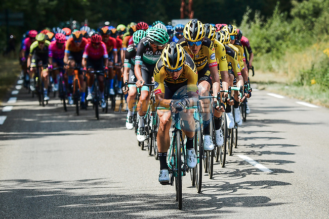 The peloton led by Team Jumbo-Visma during Stage 2 of Criterium du Dauphine 2020, running 135km from Vienne to Col de Porte, France. 13th August 2020.<br /> Picture: ASO/Alex Broadway | Cyclefile<br /> All photos usage must carry mandatory copyright credit (© Cyclefile | ASO/Alex Broadway)