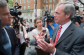 Nigel Farage interviewed at Launch of EU Referendum campaign poster, London