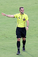 CARY, NC - AUGUST 01: Referee Kevin Broadley signals a foul during a game between Birmingham Legion FC and North Carolina FC at Sahlen's Stadium at WakeMed Soccer Park on August 01, 2020 in Cary, North Carolina.