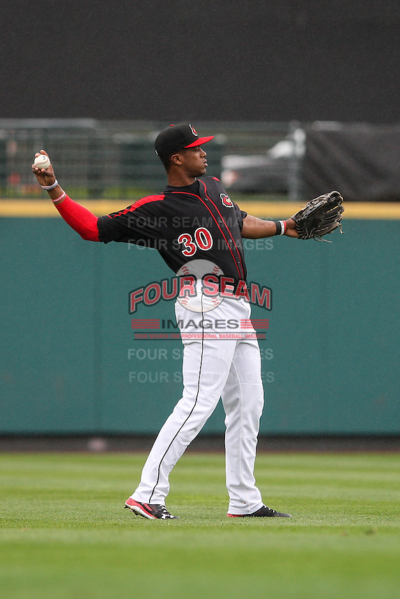 Left fielder Adam Walker (30) of the Rochester Red Wings warms up against the Scranton Wilkes-Barre Railriders on May 1, 2016 at Frontier Field in Rochester, New York. Red Wings won 1-0.  (Christopher Cecere/Four Seam Images)