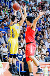 Kepkey Tyler Alexander #55 of Winling Basketball Club tries to score against the SCAA during the Hong Kong Basketball League game between SCAA vs Winling at Southorn Stadium on June 19, 2018 in Hong Kong. Photo by Yu Chun Christopher Wong / Power Sport Images