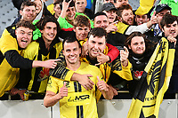 30th May 2021; Auckland, New Zealand;  Steven Taylor hangs with fans after the match. Wellington Phoenix versus Perth Glory, A-League football at Eden Park.
