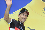 Fabian Cancellara (SUI) Radioshack-Nissan retains the leader's Yellow Jersey at the end of Stage 3 of the 99th edition of the Tour de France 2012, running 197km from Orchies to Boulogne-sur-Mere, France. 3rd July 2012.<br /> (Photo by Eoin Clarke/NEWSFILE)