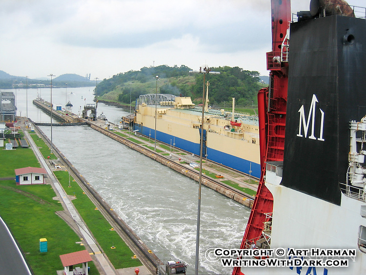 Panama Canal lock by Art Harman. At Miraflores Locks on the Pacific side.