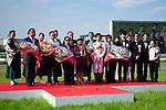 TAKARAZUKA,JAPAN-JUNE 24: Mikki Rocket's connections are celebrated after winning the Takarazuka Kinen at Hanshin Racecourse on June 24,2018 in Takarazuka,Hyogo,Japan (Photo by Kaz Ishida/Eclipse Sportswire/Getty Images)