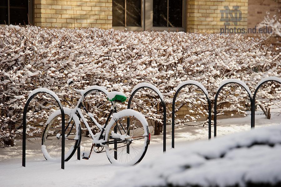 Mar. 21, 2013; Bike rack near Crowley Hall..Photo by Matt Cashore/University of Notre Dame