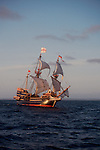 Exploration, The Golden Hind, historic sailing ship, Sir Francis Drake's Golden Hind replica under full sail, Pacific Ocean, commemorating Drake's around the world (1577-1580) Voyage of Discovery, Pacific Ocean, off the coast of Washington State, ship on port tack, .