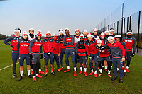 Pictured: Swansea City players wearing Santa hats before training. Friday 22 December 2017<br /> Re: Swansea City FC training at Fairwood training ground, UK