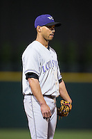 Louisville Bats third baseman Ivan De Jesus (11) on defense against the Charlotte Knights at BB&T BallPark on May 12, 2015 in Charlotte, North Carolina.  The Knights defeated the Bats 4-0.  (Brian Westerholt/Four Seam Images)