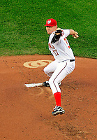 8 June 2010: Washington Nationals' rookie pitcher Stephen Strasburg on the mound during his Major League debut against the Pittsburgh Pirates at Nationals Park in Washington, DC. The Nationals defeated the Pirates 5-2 in the series opener where Strasburg pitched 7 complete innings, struck out 14 batters, notching his first win in the majors. Mandatory Credit: Ed Wolfstein Photo
