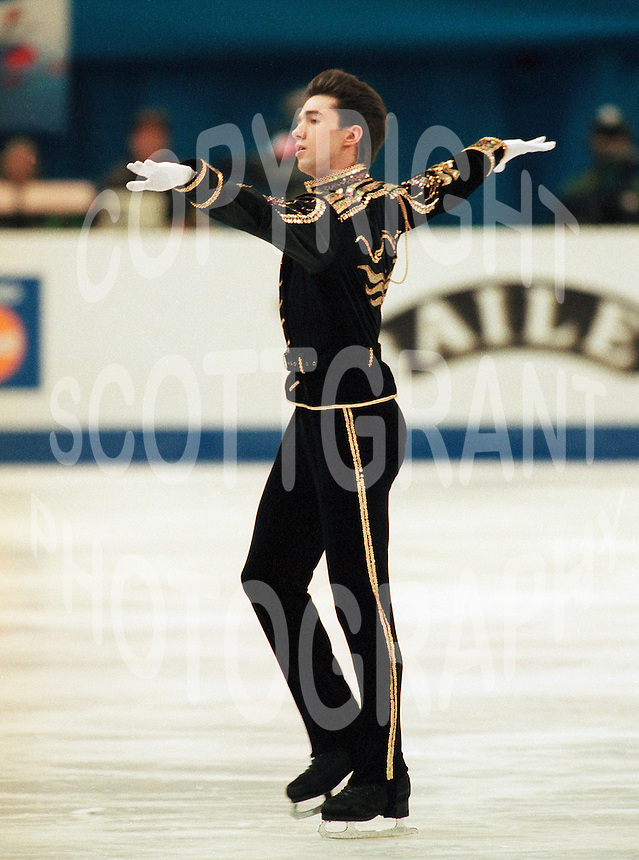 Alexei Urmanov Russian figure skater competes at the 1996 World Figure Skating Championships in Edmonton, Canada. Photo copyright Scott Grant