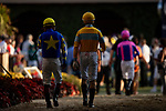 AUGUST 28, 2021:  Jockeys walk to the paddock at Del Mar Fairgrounds in Del Mar, California on August 28, 2021. Evers/Eclipse Sportswire/CSM