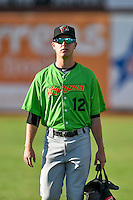 Aron McRee (12) of the Great Falls Voyagers before the game against the Ogden Raptors in Pioneer League action at Lindquist Field on August 16, 2016 in Ogden, Utah. Ogden defeated Great Falls 2-1. (Stephen Smith/Four Seam Images)