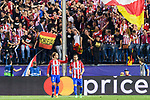 Antoine Griezmann of Atletico de Madrid celebrates during their 2016-17 UEFA Champions League Quarter-Finals 1st leg match between Atletico de Madrid and Leicester City at the Estadio Vicente Calderon on 12 April 2017 in Madrid, Spain. Photo by Diego Gonzalez Souto / Power Sport Images